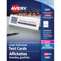 Avery Embossed Tent Cards, White, 3 1/2