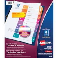 Avery Ready Index Customizable Table of Contents Dividers, Multi-Coloured, Numbered (1-8), Uncollated, Letter-Size, 8 Tabs/ST, 25 Sets/BX