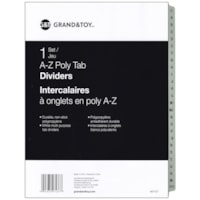 Grand & Toy Poly Tab Dividers, White with Black, Alphabetical (A-Z), 25-Tabs/ST, 1-ST/PK