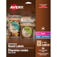 Avery 22813 Print-to-the-Edge Permanent Round Labels, Kraft Brown, 3