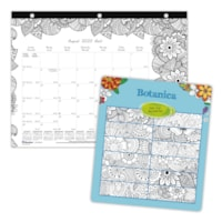 Blueline 12-Month Botanica Design Academic Colouring Desk Pad Calendar, 11