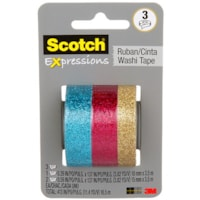 Scotch Expressions Washi Tape, Gold, Blue and Pink Glitter Collection, 3 Rolls/PK