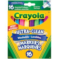 Marqueurs lavables Ultra-Clean Crayola, couleurs variées collection colossale, pointe large, emb. de 16