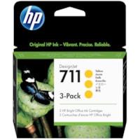 Cartouches d'encre DesignJet HP 711 (CZ136A), jaune, 29 ml, emb. de 3
