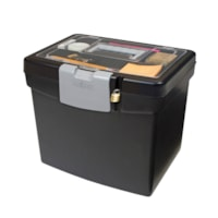 Portable File Box with Clear-Top Organizer