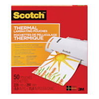 Scotch Thermal Laminating Pouches, Clear, 3 Mil, Letter Size, 50/PK