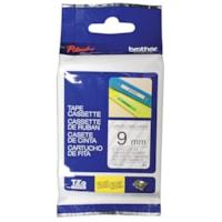 Cassette de ruban pour étiquettes TZe Brother, impression noir sur transparent, 9 mm x 8 m