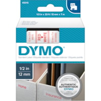 DYMO D1 Label Cassette, Red Type/White Tape, 12 mm x 7 m