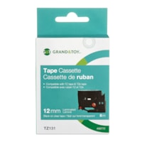Grand & Toy Sign TZe Black Type On Clear Label Tape Cassette, 12 mm (1/2
