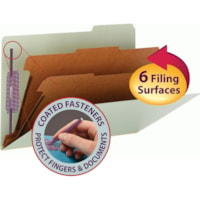 Smead Pressboard 2-Divider Classification Folder with SafeSHIELD Fasteners, Grey/Green, 2