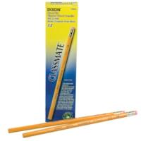 Dixon Classmate 273 Black Lead School Pencils, #2 HB, With Eraser, Yellow, 12/BX
