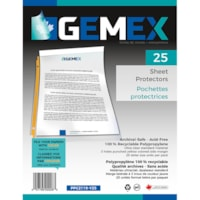 Gemex Top-Loading Sheet Protectors, Standard Weight, Ultra-Clear/Yellow Spines, Letter Size, 25/PK