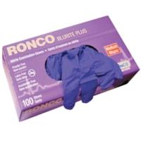 Ronco BluRite Plus Examination Nitrile Powder-Free Disposable Gloves, Dark Blue, Medium, 100/BX