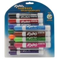 Expo Low-Odour Dry-Erase Marker, Assorted Colours, Chisel Tip, 12/PK