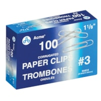 Trombones nº 3 Acme, 1 1/8 po, fini strié antidérapant, argent, emb. de 100