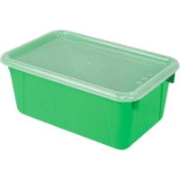Storex 8 L Green Cubby Bins With Transparent Lids