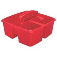 Petit bac de rangement à trois compartiments Storex, rouge