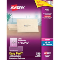 Avery 7660 Glossy Easy Peel Address Labels, Clear, 1