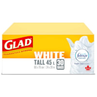Glad White Garbage Bags, Febreze Fresh Clean Scent, Tall 45 L, 30/PK