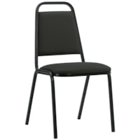 Offices To Go Stacklite Lightweight Stacking Chair, Echo Black Terrace Fabric Seat and Back