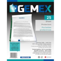 Gemex Top-Loading Sheet Protectors, Standard Weight, Ultra-Clear/Green Spines, Letter Size, 25/PK