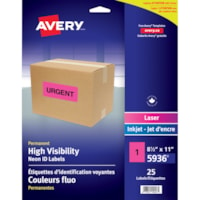 Avery 5936 Permanent High Visibility ID Laser/Inkjet Labels, Neon Pink, 8 1/2