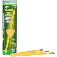 Dixon Ticonderoga Tri-Write Triangular Standard Size Pencils With Eraser, #2 HB, Yellow, 12/BX