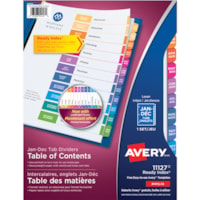 Avery Ready Index Customizable Table of Contents Dividers, White with Multi-Coloured Tabs, Monthly (Jan-Dec/Bilingual), Letter-Size, 12 Tabs/ST, 1 Set/PK
