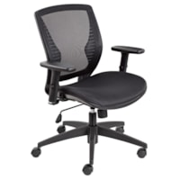 Offices to Go Stradic Mid-Back Tilter Chair, Black Quilt Fabric Seat and Mesh Back