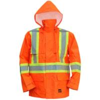 Open Road High-Visibility 150D Medium Bright Orange Safety Rain Jacket