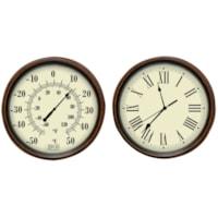 Ensemble horloge et thermomètre décoratif BIOS Living, finition antique
