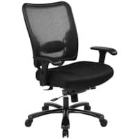 Fauteuil ergonomique avec dossier aéré en mailles noires et assise en tissu pour utilisateurs de forte taille Office Star