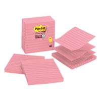 Post-it Super Sticky Pop-Up Notes, Lined, Pink Wave, 4