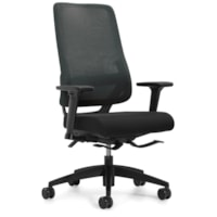 Global Sora High-Back Synchro-Tilter Chair, Black, Fabric Seat/Mesh Back