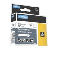 Ruban en nylon souple de qualité industrielle pour étiqueteuse Rhino DYMO, impression noir sur blanc, 12 mm x 3 1/2 m (1/2 po x 11 1/2 pi)