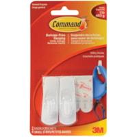 Command Adhesive Utility Hooks, Small, 1 lb Capacity, 2 hooks/2 strips