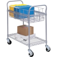 Safco Wire Mobile Mailroom Cart, Silver, 39