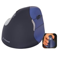 Evoluent Wireless VerticalMouse 4, Medium/Large, Right Hand, Black/Blue (VM4RW)