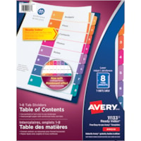 Avery Ready Index Customizable Table of Contents Dividers, Multi-Coloured, Numbered (1-8), Letter-Size, 8 Tabs/ST, 1 Set/PK