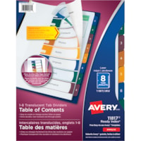Avery 11817 Ready Index Translucent Table of Contents Dividers, White Dividers with Multi-Coloured Tabs, Numbered (1-8), Letter-Size, 8-Tabs/ST, 1-Set/PK