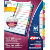 Avery Ready Index Customizable Table of Contents Dividers, White with Multi-Coloured Tabs, Numbered (1-12), Letter-Size, 12-Tabs/ST, 1-Set/PK
