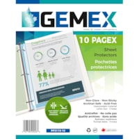 Gemex Top-Loading Polypropylene Sheet Protectors, Heavyweight, Non-Glare, Letter Size, 10/PK
