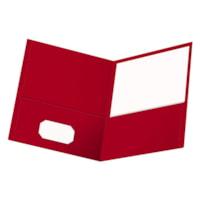 Oxford Embossed Twin Pocket Folder, Red, Letter Size
