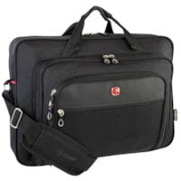 SwissGear Top-Loading Laptop Messenger Bag, Black, Fits Laptops up to 17.3