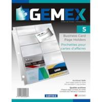 Pochettes pour cartes professionnelles Gemex, ultratransparent, format lettre, boîte de 50
