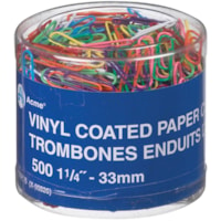 Acme Vinyl-Coated Paper Clips, Assorted Colours, 1 1/4