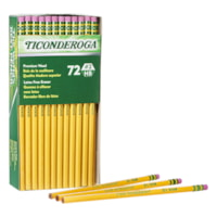 Dixon Ticonderoga Pencils with Erasers, #2 HB, Soft, 72/BX