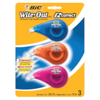 BIC Wite-Out Brand EZ Correct Correction Tape, White, 3/PK
