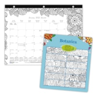 Blueline Botanica 12-Month Monthly Colouring Desk Pad Calendar, January - December, Bilingual