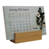 Blueline 12-Month Monthly Calendar with Wooden Stand, 6
